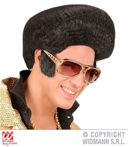 Adults Mens King Of Rock Wig Fancy Dress Accessory 50s 60s Greaser Elvis Danny