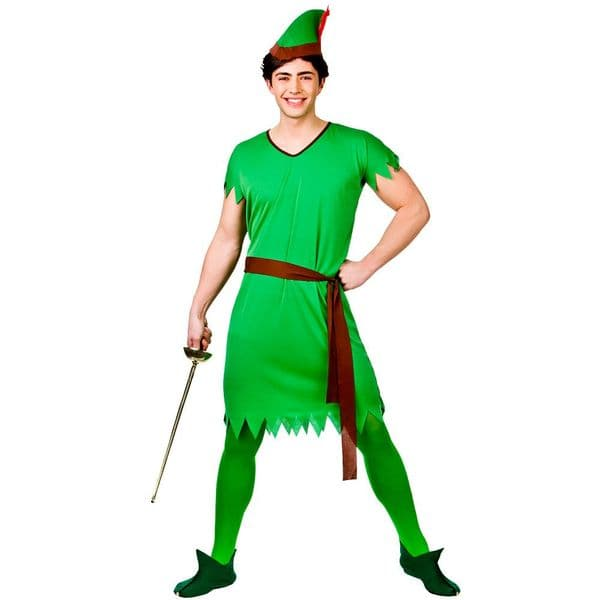Adults Mens Lost Boy Elf R Hood Costume Christmas Dwarf Panto Fancy Dress