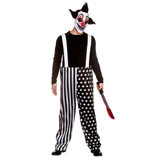 Adults Sinister Clown & Mask Costume Mens Halloween Fancy Dress