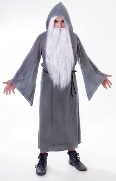 Adults Wizard Cloak Grey Costume Magician Magic Witch Halloween Fancy Dress