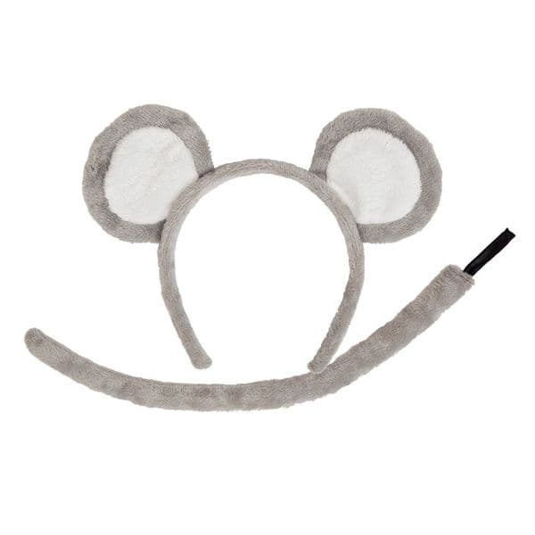 Animal Ears & Tail for Creature Nature Zoo Farm Fancy Dress Mouse