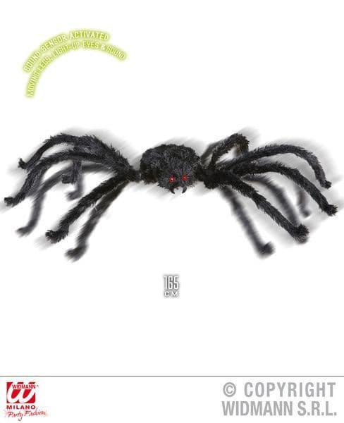 Animated Giant Spider 165cm Decoration Halloween Bug Trick Or Treat Party