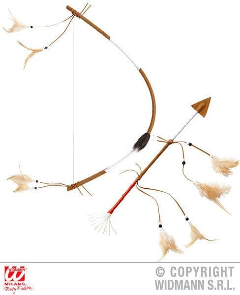 Authentic Indian Bow & Arrow 60cm Red Indian Apache Cherokee Fancy Dress