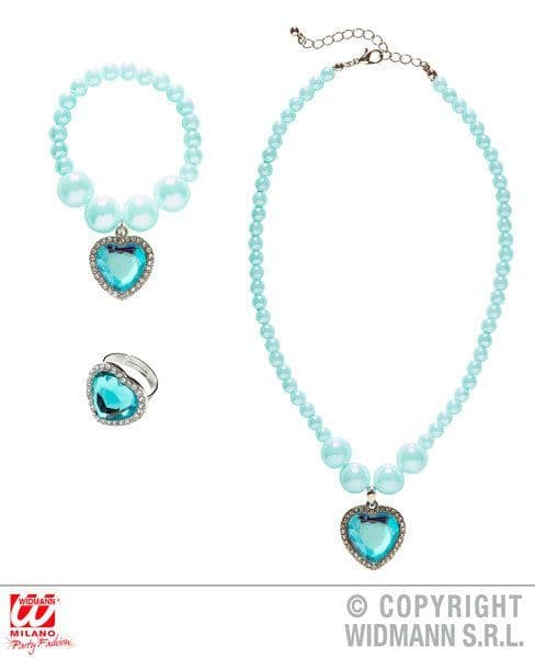 Azure Beaded Strass Gem Heart Necklace Bracelet & Ring Love Eros Valentine
