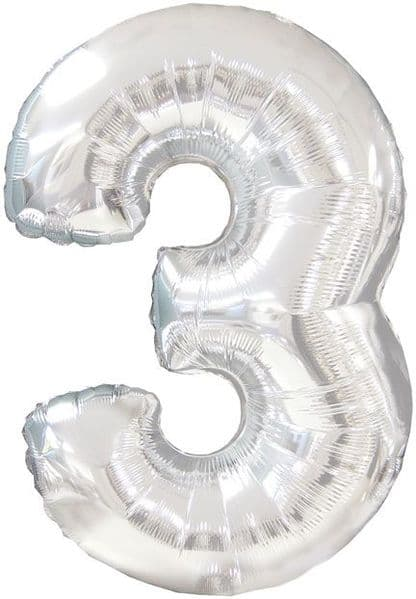 Balloon Foil - Number 3 Silver