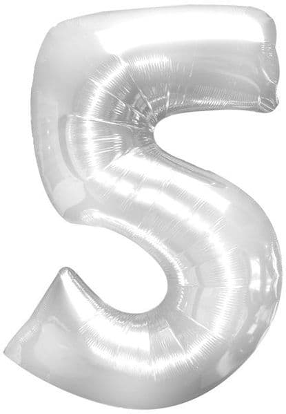 Balloon Foil - Number 5 Silver