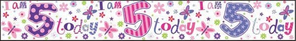 Banner Happy Birthday 5th Girl