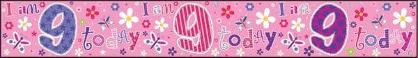Banner Happy Birthday 9th Girl