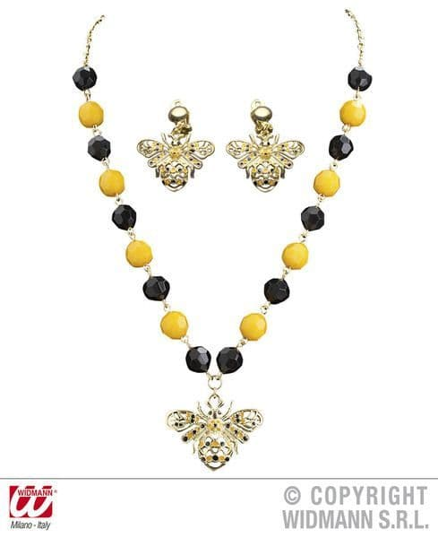 Bee Necklace & Earring Set Flying Bug Honey