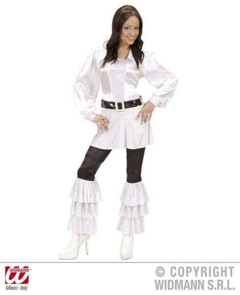 Black Satin Pants With White Sequins for Disco 70s Fancy Dress