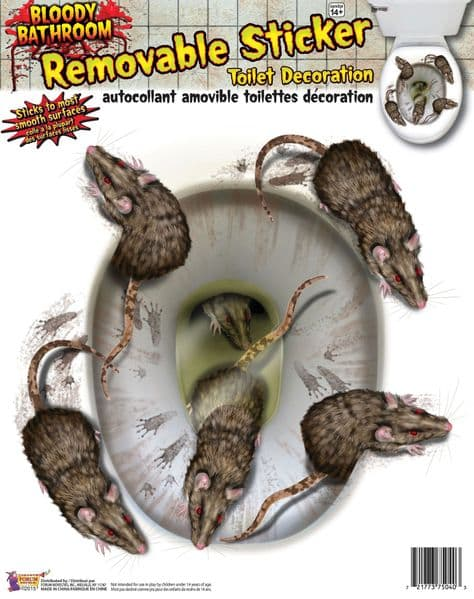 Bloody Rat Toilet Seat Stickers Bleeding Wound Vampire PartyDecoration