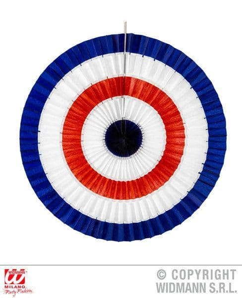 Blue White Red Tricolor Paper Fan 50cm Fancy Dress