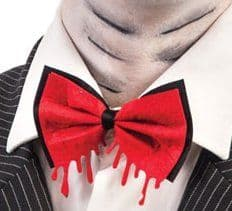 Bow Tie Red and Bloody with Header Necktie Halloween Zombie Accessory