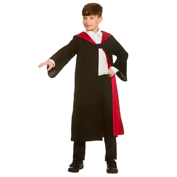 Boys Deluxe Wizard Robe Costume for Magician Magic Witch Halloween Fancy Dress
