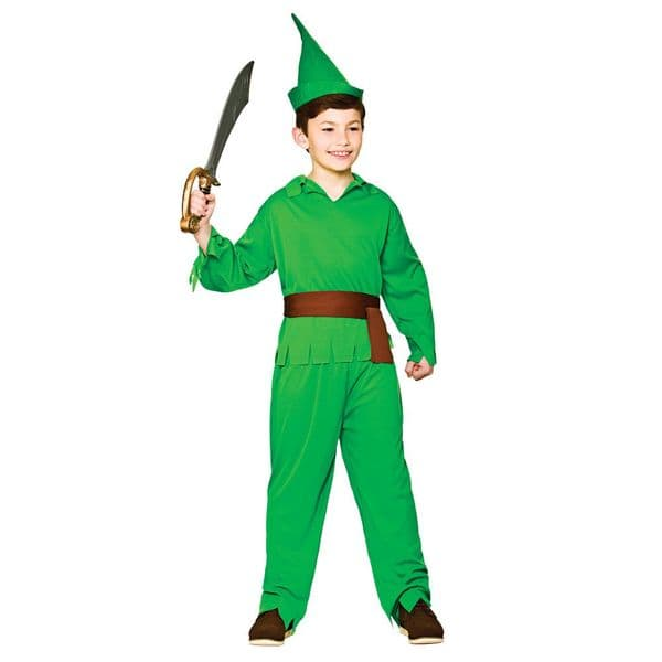 Boys Robin Hood / Pan Lost Boy Costume for Neverland Fairy Land Fancy Dress