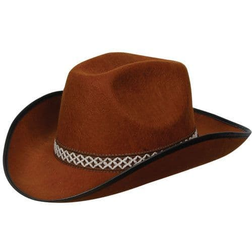 Brown Cowboy Hat with Decorative Band for American Wild West & Indians Fancy Dress