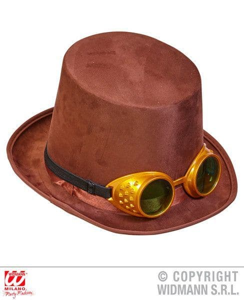 Brown Steampunk Top Hat with Goggles Victorian Fancy Dress
