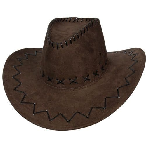 Brown Suede Cowboy Hat for American Wild West & Indians Fancy Dress