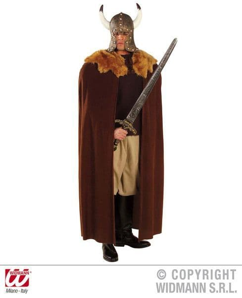 Brown Warrior Cape W/Plush Collar 140cm Roman Gladiator Centurion Soldier Army