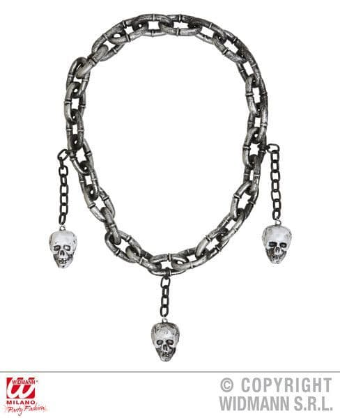 Chain Necklace With Skulls Halloween Rock Band Alice Axel Ozzy Cosplay