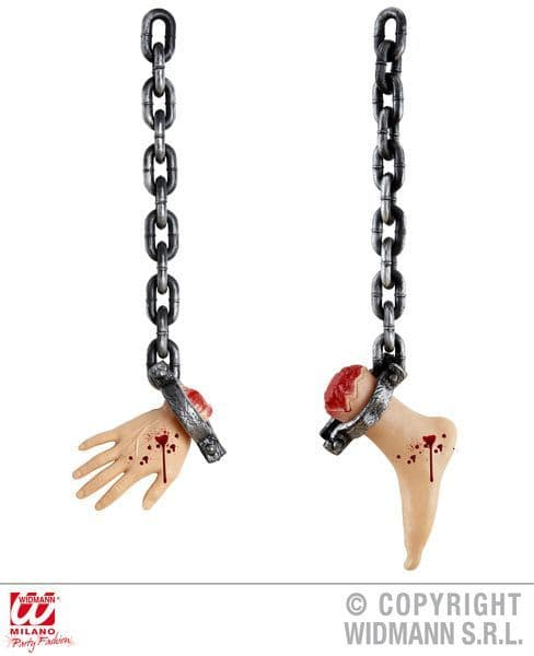 Chains W Severed Bodyparts 75cm Hand Foot Body Part Limb Halloween Zombie