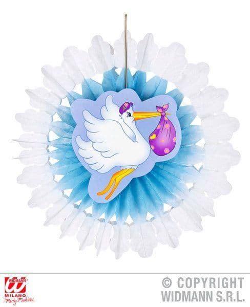 Child Unisex Azure Stork With Baby Paper Fan 50cm Party Decoration