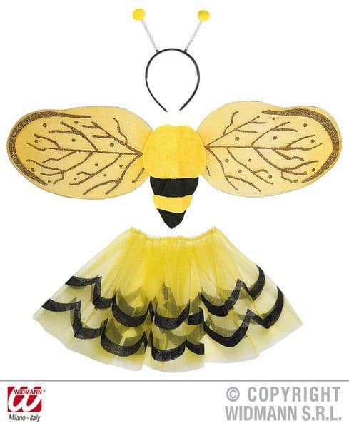 Child Unisex Bee Dress Up Set (Tutu Wings Antenna) Flying Bug Honey Fancy Dress