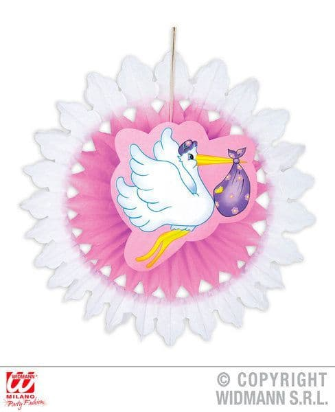 Child Unisex Stork With Baby Paper Fan 50cm Party Decoration