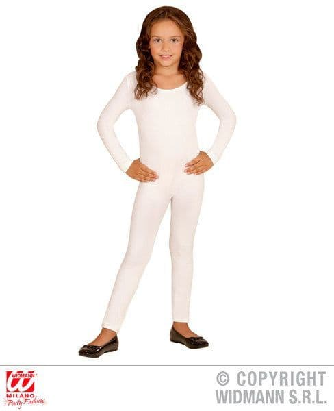 Child Unisex White Bodysuit Ballet Gymnastics Opera Dancer Fancy Dress