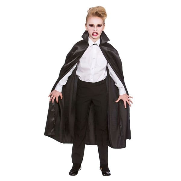 Childrens Deluxe Satin Cape With Collar Kids Superhero Fancy Dress