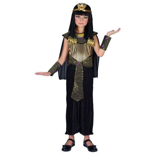Childrens Girls Queen Cleopatra Costume for Royal Regal Ruler Leader Fancy Dress