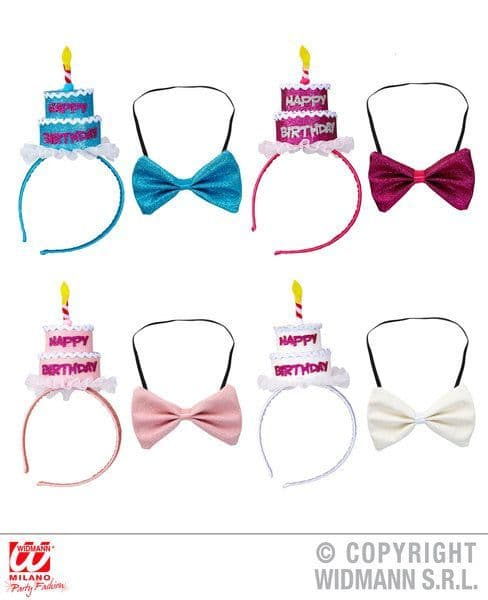 Clown Happy Birthday Cake Headband & Bow Tie 4 Colors Ass Hat Partyware Carnival