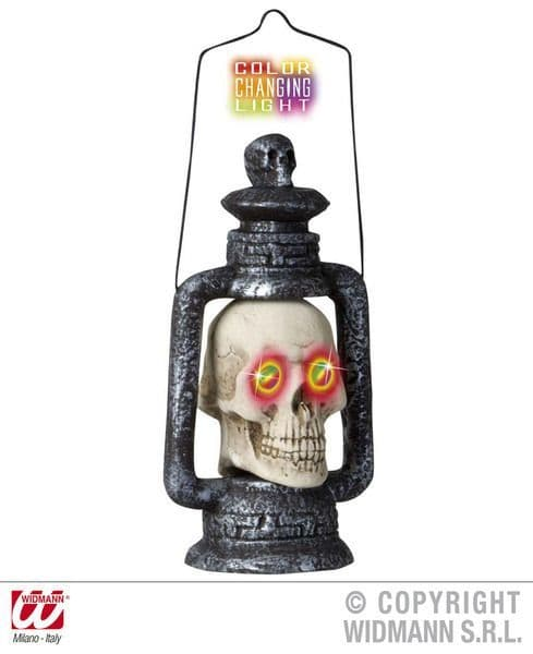 Cols Change Skull Lanterns 35cm Decoration Pirate Halloween Skeleton Head Party