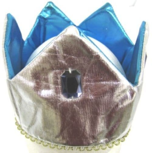 Crown Hat Shaped Blue & Silver Queen King Prince Princess