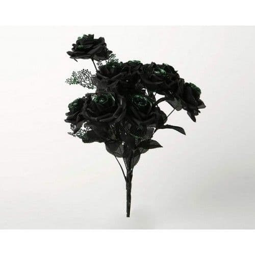 Decoration Rose Black Bouquet with Green Halloween Party