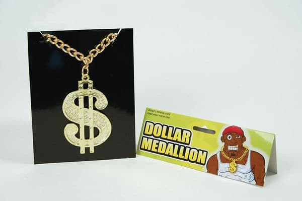 Dollar Medallion On Chain Pimp 70s Huggy Bear Live & Let Die Villain Fancy Dress