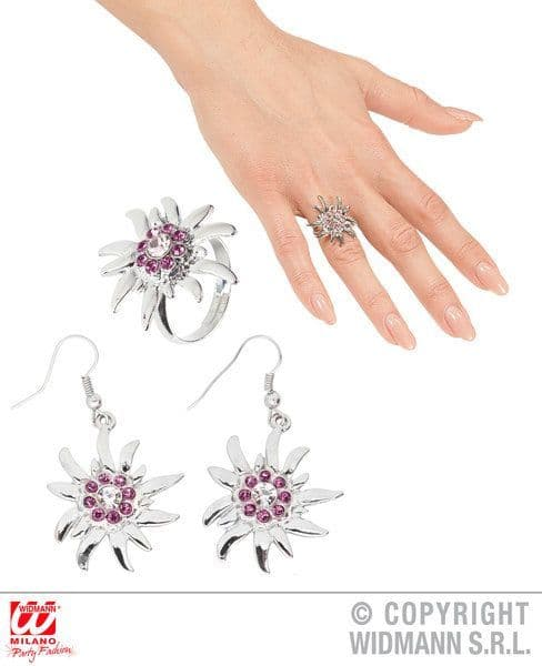 Edelweiss Earrings & Ring W/ Clear & Pink Strass Oktoberfest Bavarian German