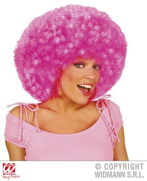 Extra Curly Jimmy Wig 80s 90s Neon Pink Pop 80s New Romantic Fancy Dress