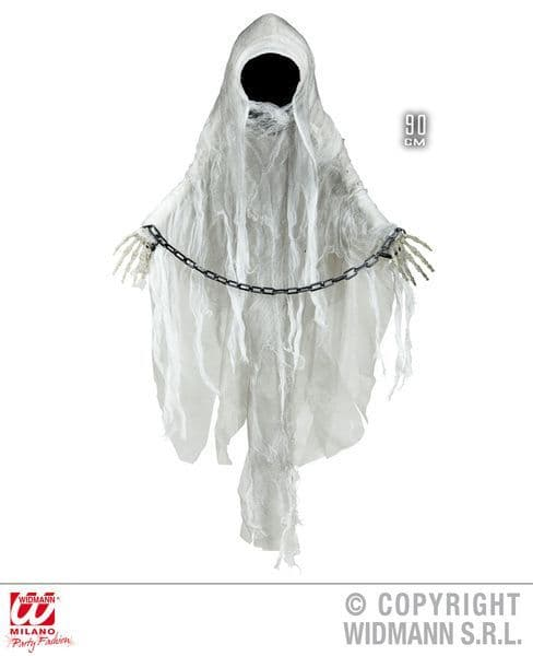 Faceless Ghost With Shackles 90cm Decoration Scary Creepy Halloween Fancy Dress