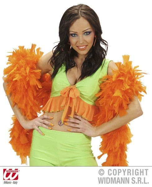 Feather Boa 65g 180cm 20s 30s Chorus Flapper Fancy Dress Party in Orange