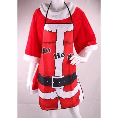 Festive Christmas Apron in Red with Ho Ho Ho Decoration Chefs Gift