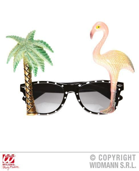 Flamingo Tropical Glasses Hawaiian Exotic Pool Fancy Dress