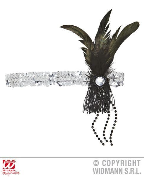 Flapper Sequin Headband W/ Feather & Pearls Hat Charlston 20s 30s Moll Boop