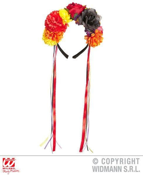 Flower Headband Day of the Dead Mulitcoloured Ribbon Trick or Treat Fancy Dress