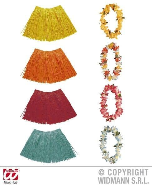 Flower Lei & Raffia Set 4 Colours Tropical Hawaii Hawaiian Beach Fancy Dress