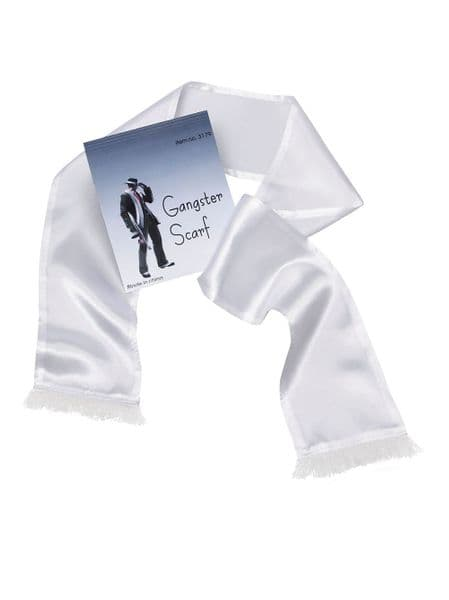 Gangster Scarf White for 20s 30s Mobster Mob Criminal Fancy Dress Accessory