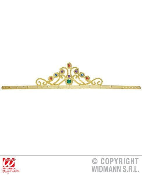 Gold Queen Crown With Gems Royal Ruler Majesty Fancy Dress