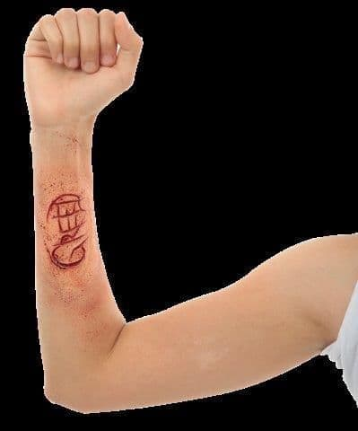 Greed Prosthetic Wounds Word Scar Tattoo Halloween Makeup Fancy Dress Cosplay