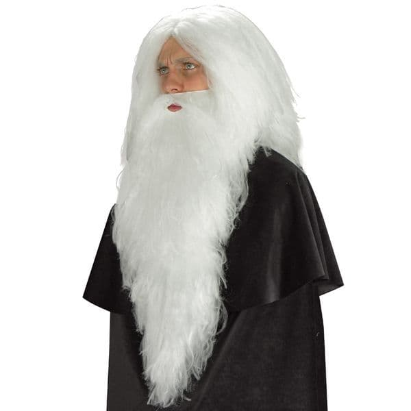 Hair Beard Santa White Straight 66cm Christmas Festive Seasonal Holidays