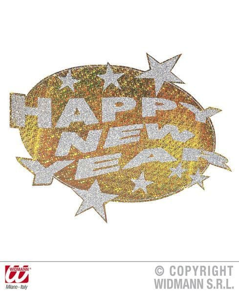 Happy New Year H/Graphic & Glitter Dec 50cm Gold/Silver Cosmetics